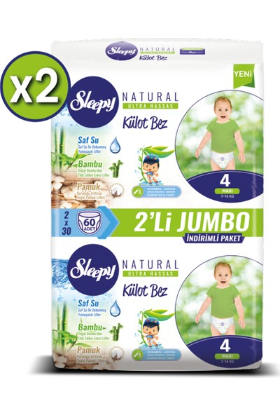 Sleepy Natural Külot Bez Ikili Jumbo 4 Numara 60X2 (120 Adet)
