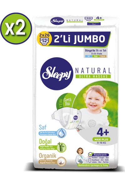 Sleepy Natural Bebek Bezi Ikili Jumbo 4+ Numara 52X2 (104 Adet)
