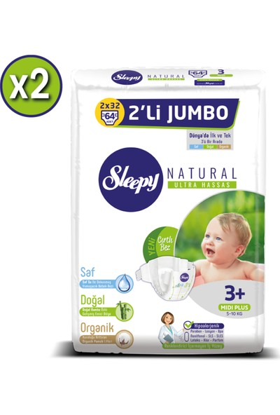 Sleepy Natural Bebek Bezi Ikili Jumbo 3+ Numara 64X2 (128 Adet)