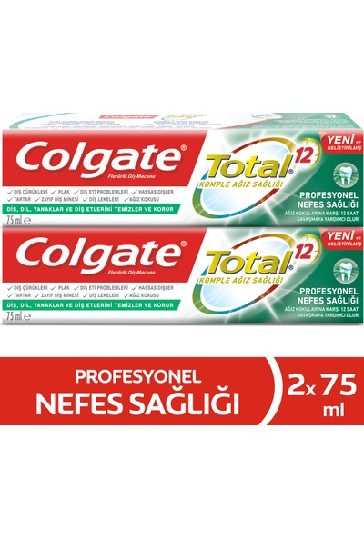 Colgate Total Profesyonel Nefes Sağlığı Diş Macunu 75 ml x 2 Adet