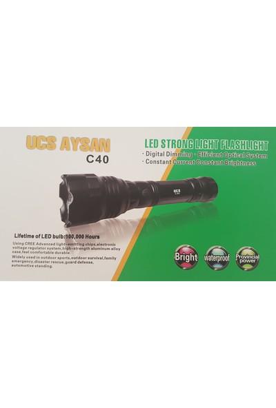 Ucs Aysan C40 Su Geçirmez 800M Metal Kasa Şarjlı El Feneri