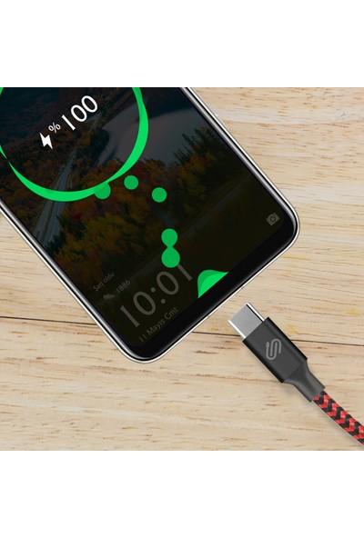 Qspeed USB Type-C Hızlı Şarj ve Data Kablosu Kırmızı/Siyah Örgülü 1 m