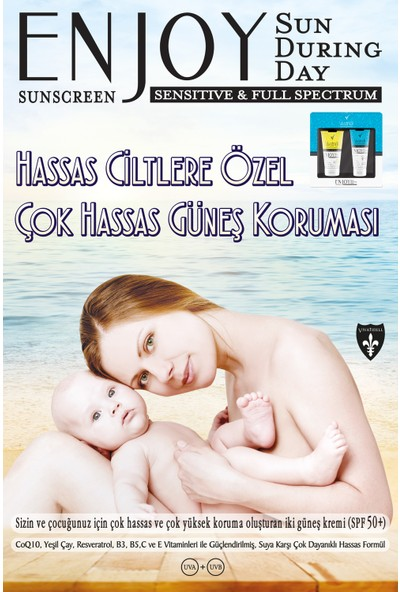 Enjoy Blue Box Sensitive Skin Aile Seti( Spf 50+ Güneş Kremi & Spf 50+ Çocuk Güneş Kremi ) 150 ml + 100 ml