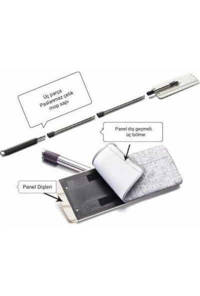 Gül Tablet Mop Temizlik Seti - Yedek Bezi Hediyeli