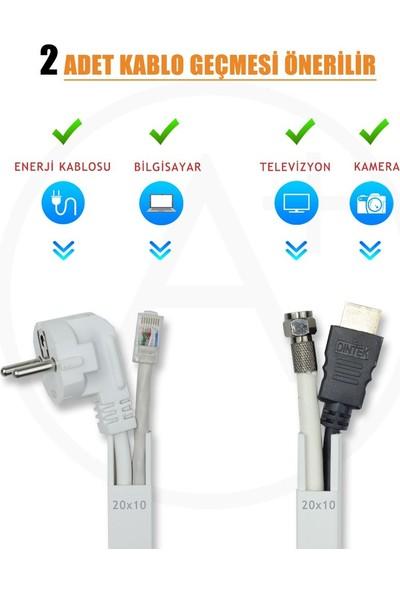 A Plus Elektrik 20x10 mm Beyaz 2x1m=2m Bantsız Kablo Kanalı