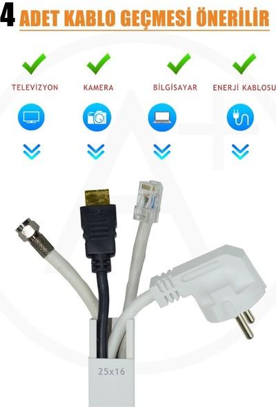 A Plus Elektrik 25x16 mm Güçlü Yapışkan Bantlı Beyaz 2x1m=2m Kablo Kanalı