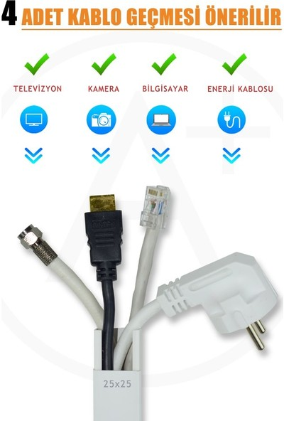 A Plus Elektrik 25x25 mm Beyaz 4x1m=4m Bantsız Kablo Kanalı