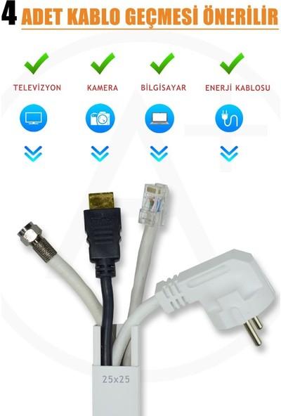 A Plus Elektrik 25x25 mm Güçlü Yapışkan Bantlı Beyaz 65x2m=96m Kablo Kanalı