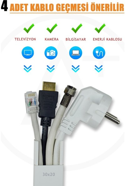 A Plus Elektrik 30x20 mm Güçlü Yapışkan Bantlı Beyaz 60x2m=120m Kablo Kanalı