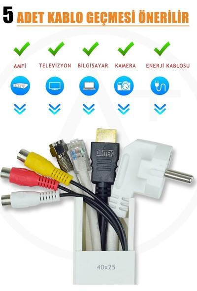 A Plus Elektrik 40x25 mm Güçlü Yapışkan Bantlı Beyaz 8x1,5m=12m Kablo Kanalı