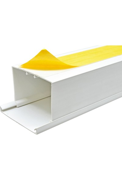 A Plus Elektrik 80x60 mm Güçlü Yapışkan Bantlı Beyaz 2x1m=2m Kablo Kanalı