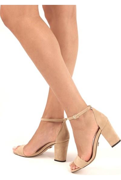 Gökhan Talay Bella Ten Süet Kalın Topuklu Kadın Sandalet