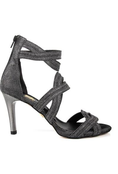 Gökhan Talay Bright Çelik Rengi Simli Topuklu Ayakkabı