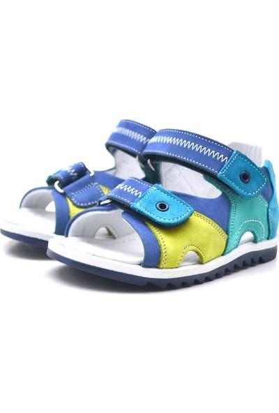 Nino Hakiki Deri Cırtlı Yeşil Unisex Çocuk Sandalet