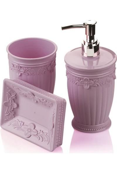 FreeHome Sultan Mutfak Seti 3 Parça Sıvı Sabunluk Mor