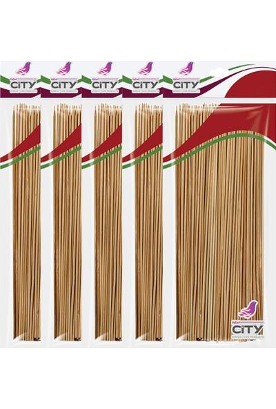 New City Bambu Ahşap Çöp Şiş 25 cm 100 Lü - 5 Li Set