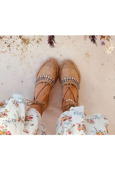 Yasmin Hasır Taşlı Kadın Sandalet
