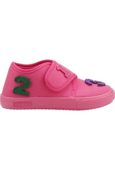 Sanbe 106P104 Okul Kreş Kız/Erkek Çocuk Keten Panduf Ayakkabı Fuşya