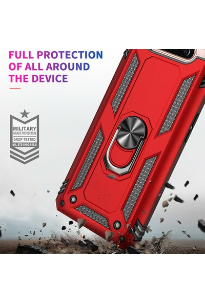 DVR Samsung Galaxy A80 Kılıf Crash Vega Yüzüklü Standlı Silikon Rose Gold