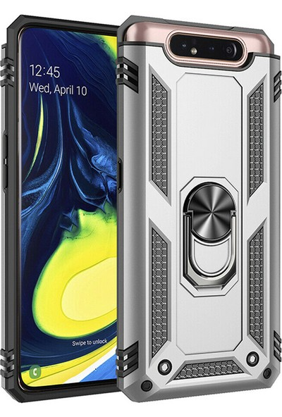DVR Samsung Galaxy A80 Kılıf Crash Vega Yüzüklü Standlı Silikon + Nano Cam Ekran Koruyucu Gümüş