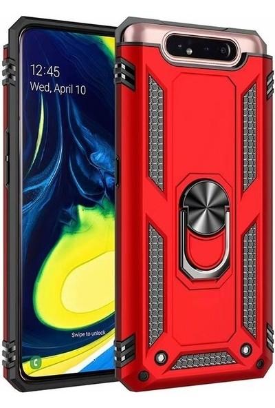 DVR Samsung Galaxy A80 Kılıf Crash Vega Yüzüklü Standlı Silikon + Tam Ekran Cam Koruyucu Kırmızı