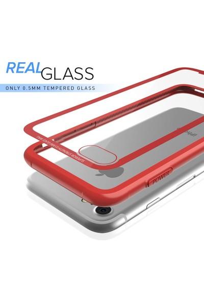 DVR Apple iPhone 8 Kılıf Roar Glassoul Airframe Case Arkası Cam Gümüş