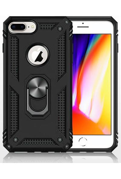 LionTech Apple iPhone 7 Plus Kılıf Zırh Koruma Yüzüklü Standlı Armor Silikon Kapak Siyah