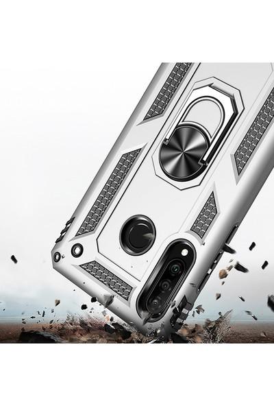 LionTech Huawei P30 Lite Kılıf Zırh Koruma Yüzüklü Standlı Armor Silikon Kapak Gri
