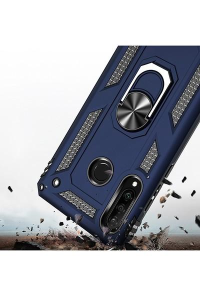 LionTech Huawei P30 Lite Kılıf Zırh Koruma Yüzüklü Standlı Armor Silikon Kapak Mavi