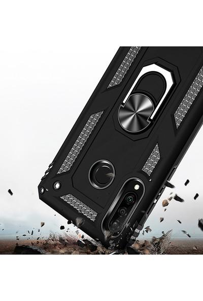 LionTech Huawei P30 Lite Kılıf Zırh Koruma Yüzüklü Standlı Armor Silikon Kapak Siyah