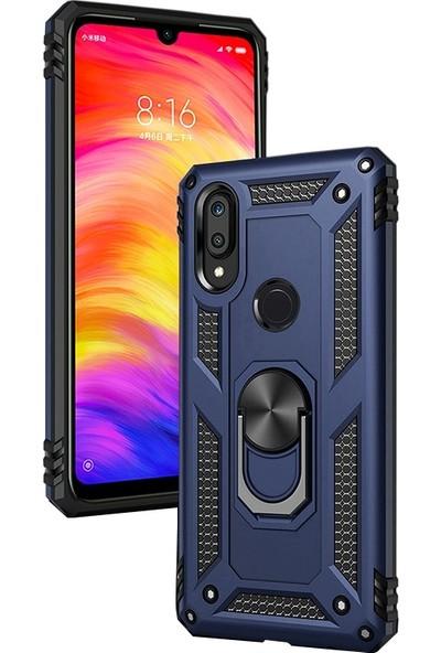 LionTech Huawei Y7 2019 Kılıf Zırh Koruma Yüzüklü Standlı Armor Silikon Kapak + Ekran Koruma Mavi