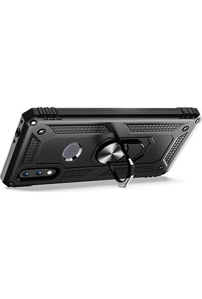LionTech Huawei Y7 2019 Kılıf Zırh Koruma Yüzüklü Standlı Armor Silikon Kapak Siyah