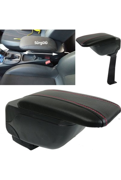 Autoen Dacia Duster 2011 Model Geniş Tip Sürgülü Kolçak Kol Dayama Delme Yok Siyah Kırmızı
