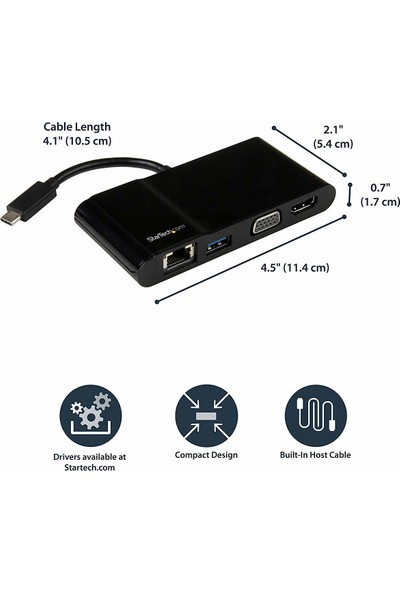 Startech DKT30CHV Portable USB C Multiport Video Adapter