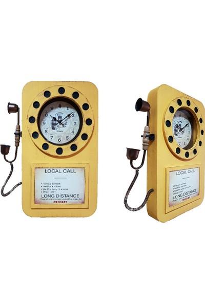 Ikbal Home Ahşap Eskitme Telefon Duvar Saati Beyaz