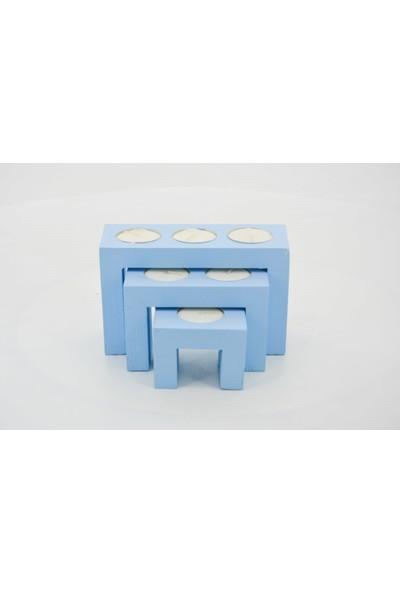 Ikbal Home Mavi Zigon 3'lü Ahşap Mumluk
