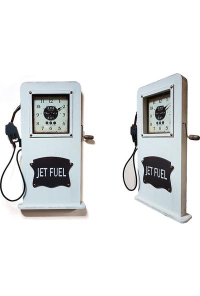 Ikbal Home Benzin Pompası Ahşap Eskitme Duvar Saati Beyaz