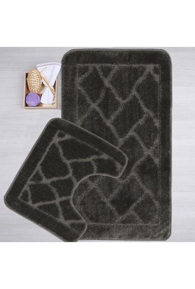 Mecra Tekstil Banyo Seti 2'Li Klozet Takımı Jel Tabanlı Antrasit 50 x 80 cm