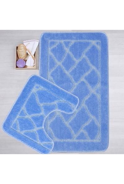 Mecra Tekstil Banyo Seti 2'Li Klozet Takımı Jel Tabanlı Mavi 50 x 80 cm