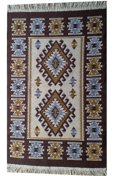 Uşak Kilimi - Kahverengi Renk Çift Taraflı Antik Tarz Eşme Desen Kilim Yolluk Lidya Tekstil
