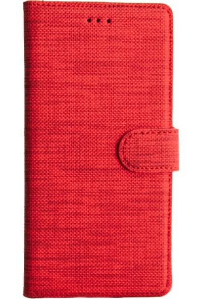 Coverzone Samsung Galaxy A20 Standlı Kartvizitli Kumaş Desen Kılıf Kırmızı