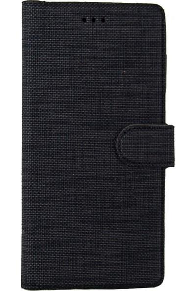 Coverzone Samsung Galaxy A70 Standlı Kartvizitli Kumaş Desen Kılıf Siyah