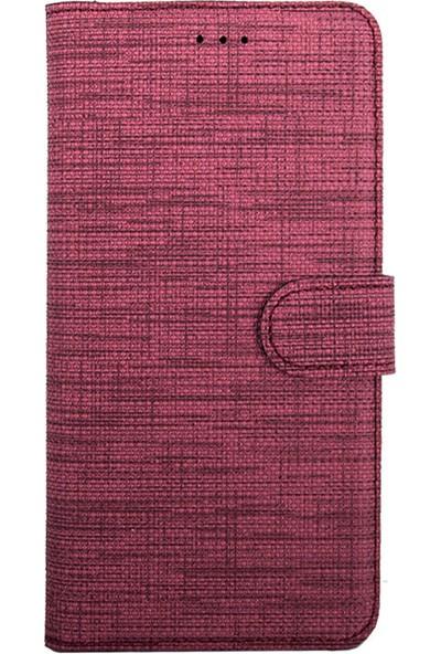 Coverzone Samsung Galaxy A20 Standlı Kartvizitli Kumaş Desen Kılıf Koyu Pembe + Temperli Ekran Koruma + Dokunmatik Kalem