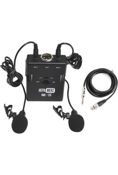 Hepa Merz HMC-120 Volüm Ayarlı Ultra Hassas Kablolu Çiftli Yaka Mikrofonu