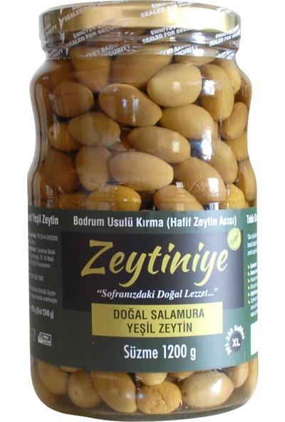 """Doğal Salamura Yeşil Zeytin Bodrum Usülü Kırma """"xl"""" 1.200 Gr."""