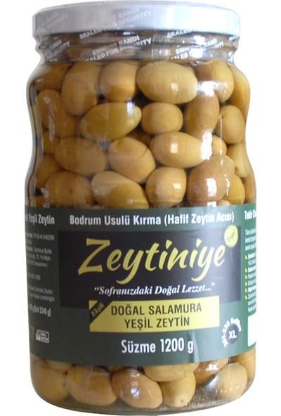 """Zeytiniye Doğal Salamura Yeşil Zeytin Bodrum Usulü Kırma Ekşili """"xl"""" 1.200 Gr."""