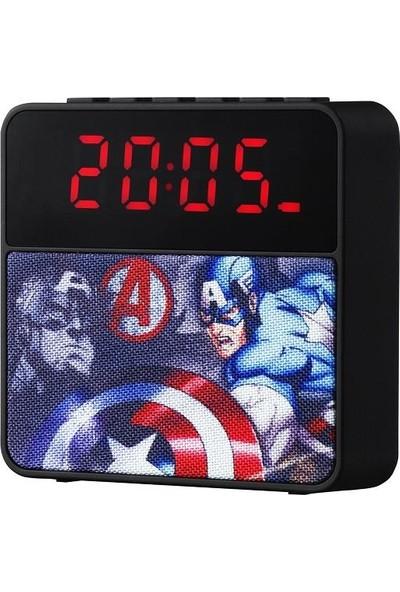 Volkano Marvel Avengers Bluetooth Kablosuz Hoparlör Radyolu USBli Çalar Saat Lisanslı MV-1011-AV