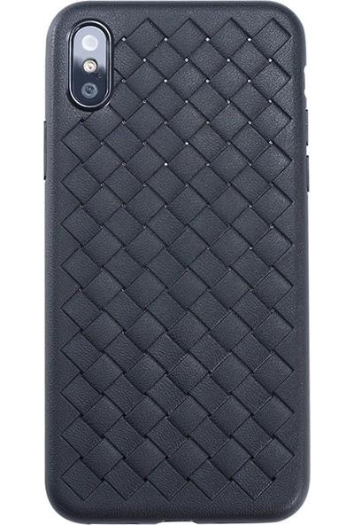 Tbkcase Benks Apple iPhone XS Kılıf Weavelt Hasır Silikon Siyah + Tam Kapatan Cam