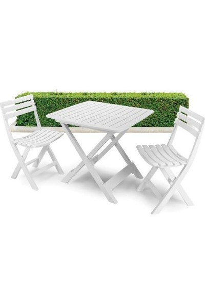 Tekzen Home Pratik Katlanabilir Plastik Balkon Set Beyaz - SET018BI