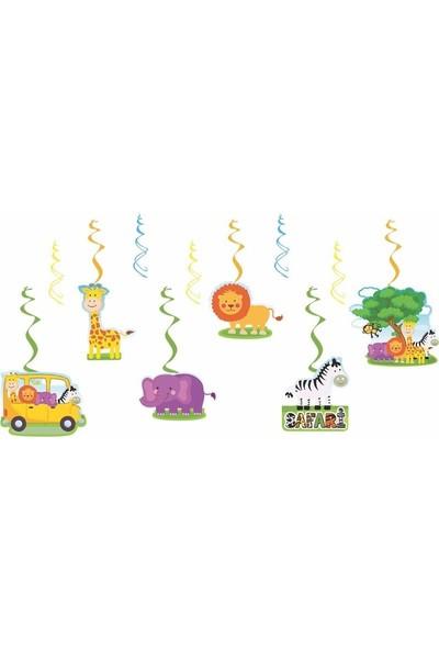 Happyland Safari Yay Süs Hayvanlı Tavan Sarkıt Süsleri 6'lı Model